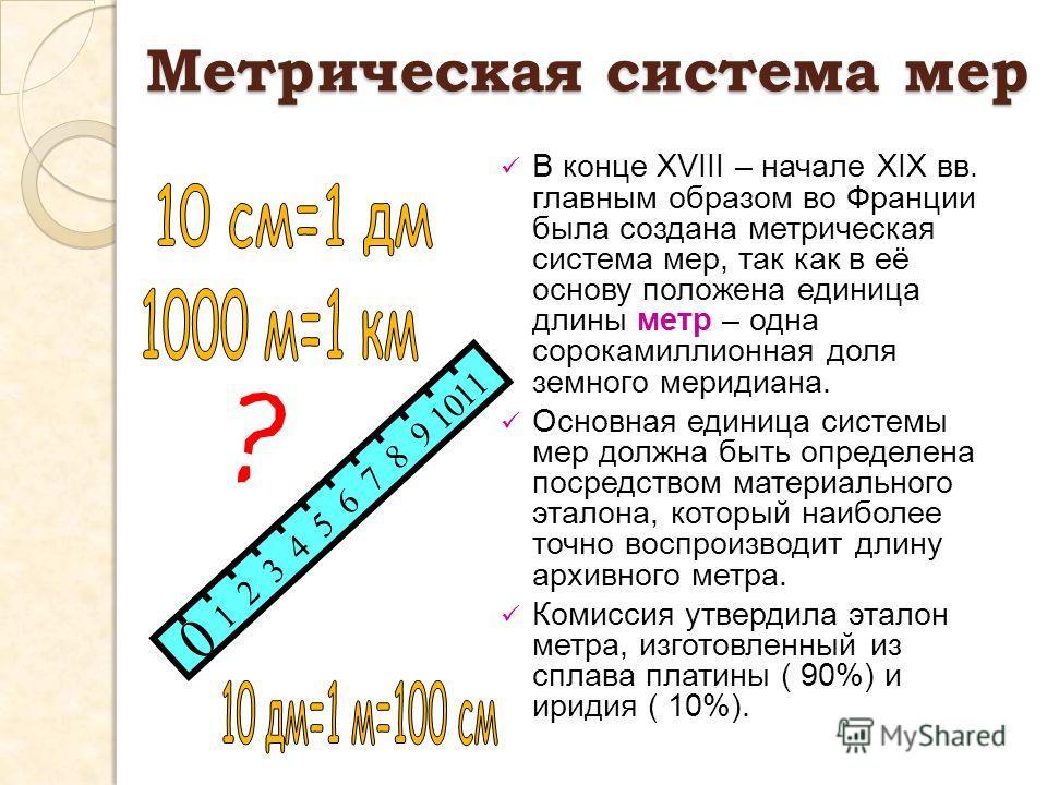 0 1 2 3 4 5 6 7 8 9 10 11 В конце ХVIII – начале ХIХ вв. главным образом во Франции была создана метрическая система мер, так как в её основу положена единица длины метр – одна сорокамиллионная доля земного меридиана. Основная единица системы мер дол