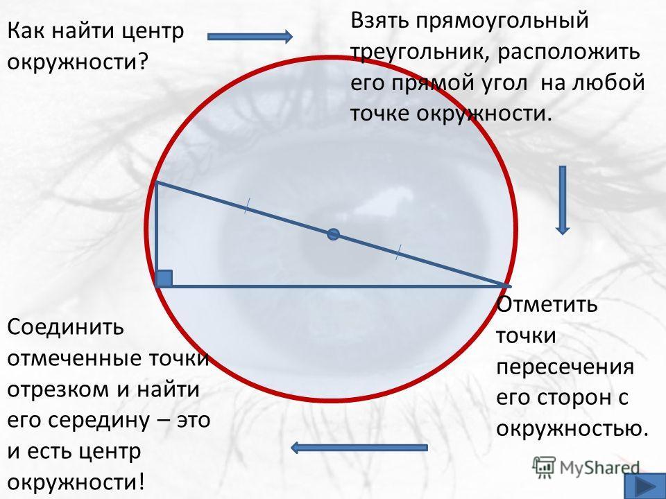 Как найти центр окружности? Взять прямоугольный треугольник, расположить его прямой угол на любой точке окружности. Отметить точки пересечения его сторон с окружностью. Соединить отмеченные точки отрезком и найти его середину – это и есть центр окруж