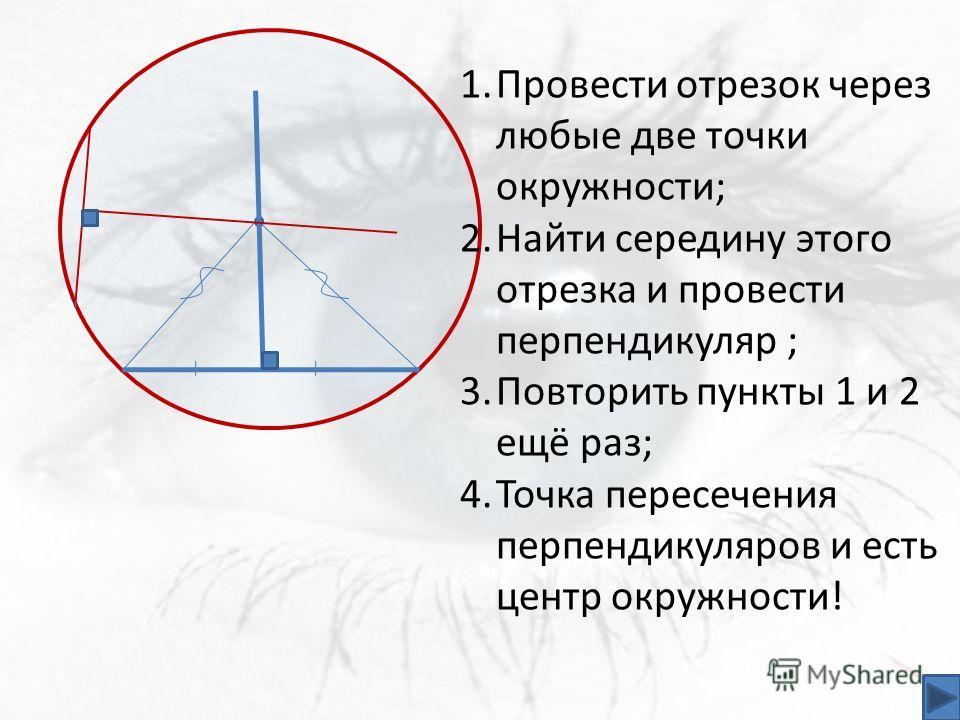 1.Провести отрезок через любые две точки окружности; 2.Найти середину этого отрезка и провести перпендикуляр ; 3.Повторить пункты 1 и 2 ещё раз; 4.Точка пересечения перпендикуляров и есть центр окружности!