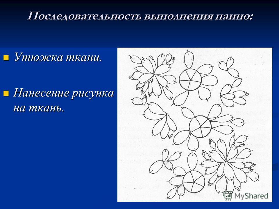 Последовательность выполнения панно: Утюжка ткани. Нанесение рисунка на ткань.
