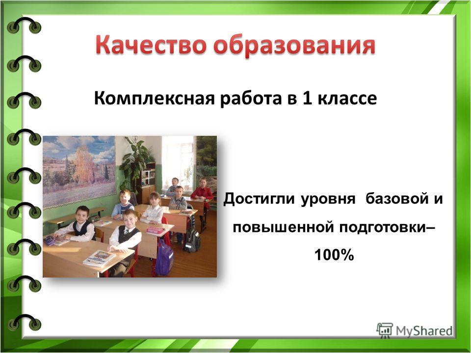 Комплексная работа в 1 классе Достигли уровня базовой и повышенной подготовки– 100%