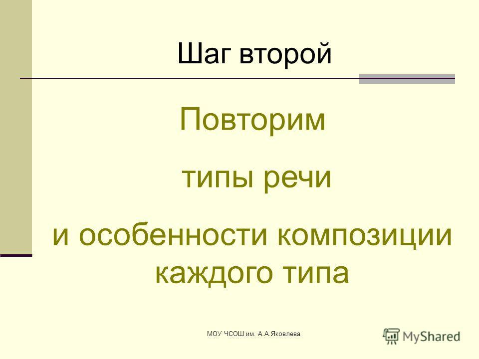 МОУ ЧСОШ им. А.А.Яковлева Шаг второй Повторим типы речи и особенности композиции каждого типа