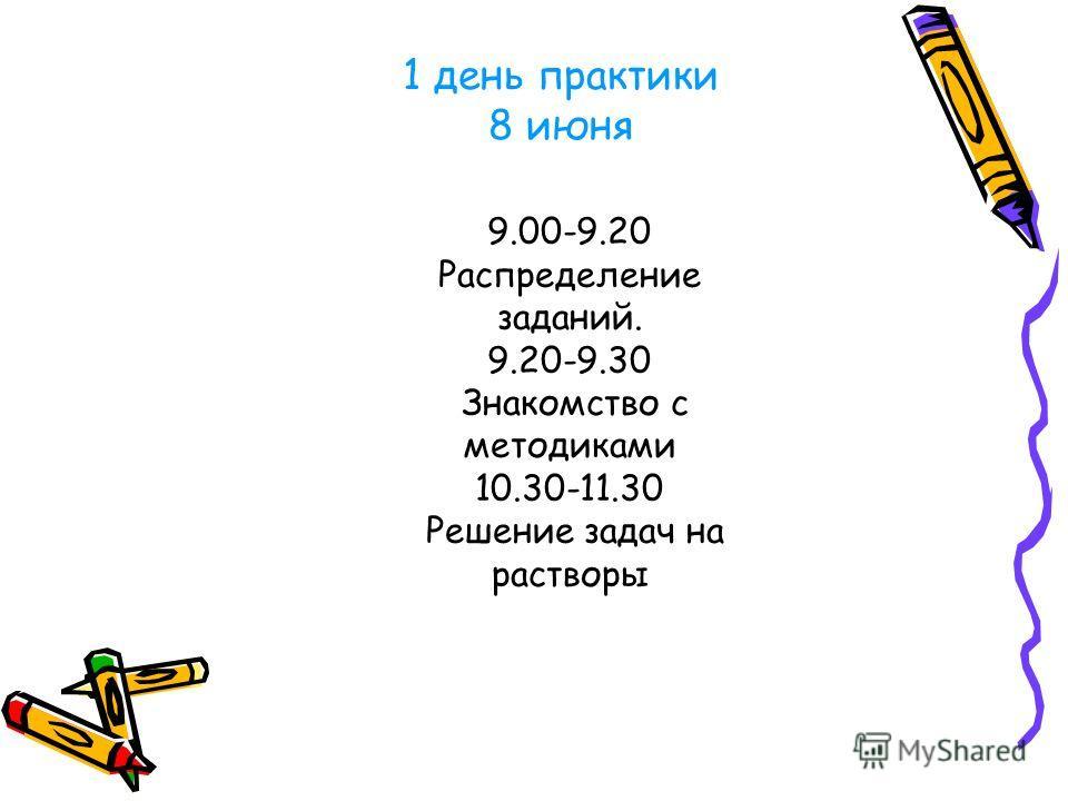 1 день практики 8 июня 9.00-9.20 Распределение заданий. 9.20-9.30 Знакомство с методиками 10.30-11.30 Решение задач на растворы