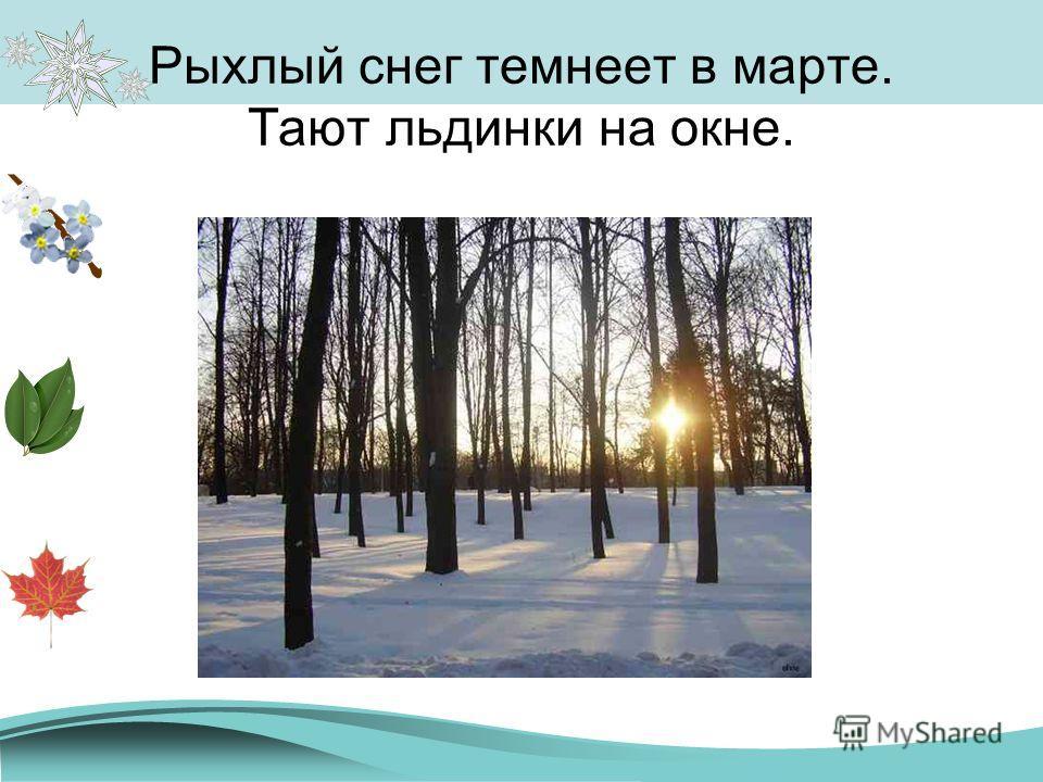 Рыхлый снег темнеет в марте. Тают льдинки на окне.