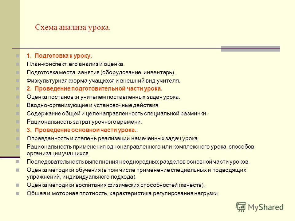 Схема анализа урока. 1.