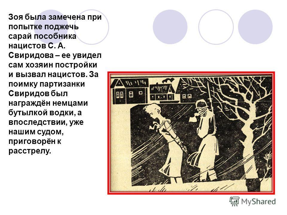Зоя была замечена при попытке поджечь сарай пособника нацистов С. А. Свиридова – ее увидел сам хозяин постройки и вызвал нацистов. За поимку партизанки Свиридов был награждён немцами бутылкой водки, а впоследствии, уже нашим судом, приговорён к расст