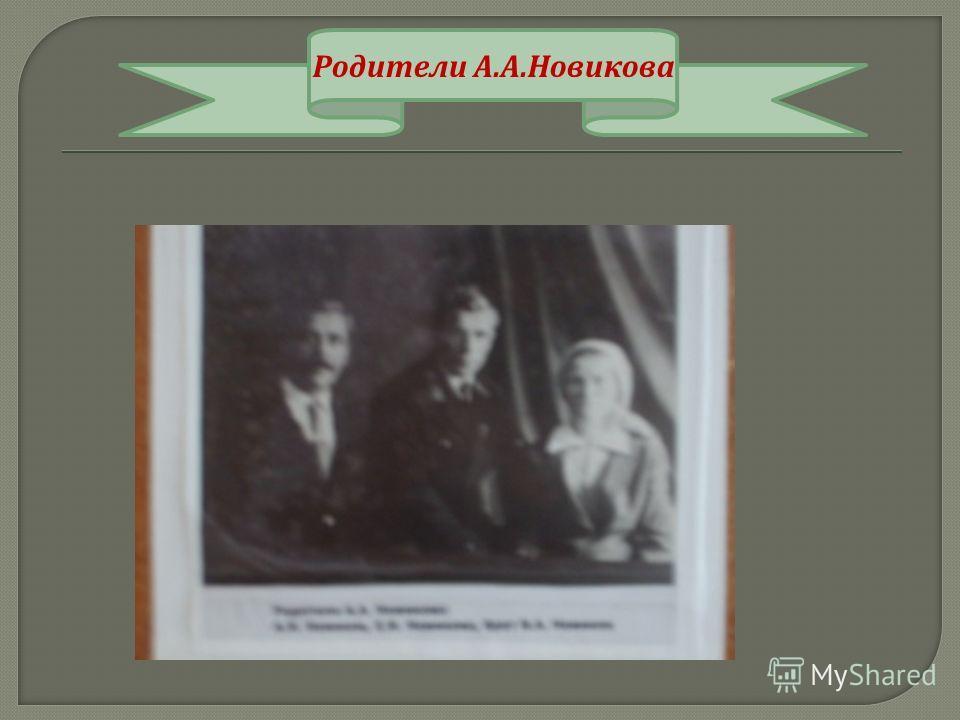 Родители А. А. Новикова