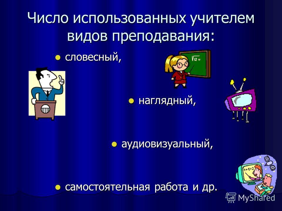 Число использованных учителем видов преподавания: словесный, словесный, наглядный, наглядный, аудиовизуальный, аудиовизуальный, самостоятельная работа и др. самостоятельная работа и др. Норма - не менее трех за урок.