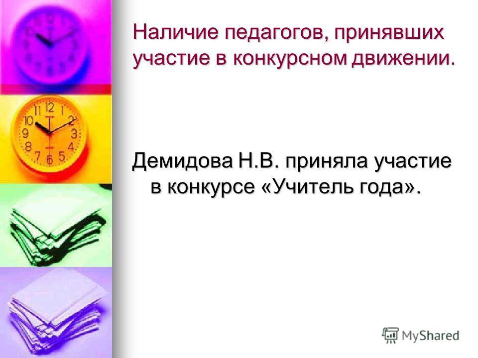 Наличие педагогов, принявших участие в конкурсном движении. Демидова Н.В. приняла участие в конкурсе «Учитель года».
