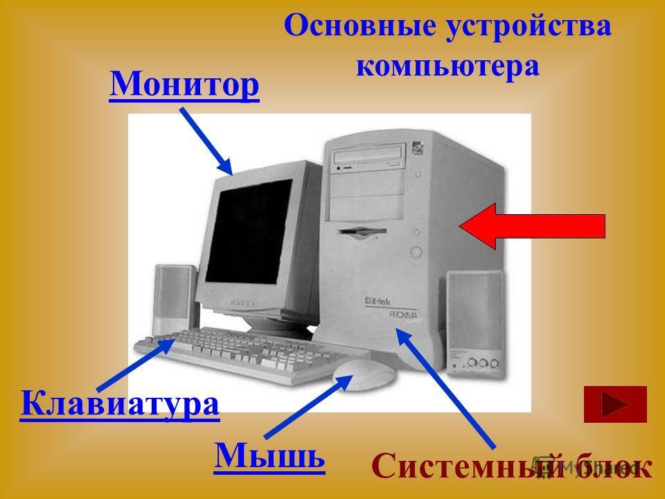 Монитор Клавиатура Мышь Системный блок Основные устройства компьютера