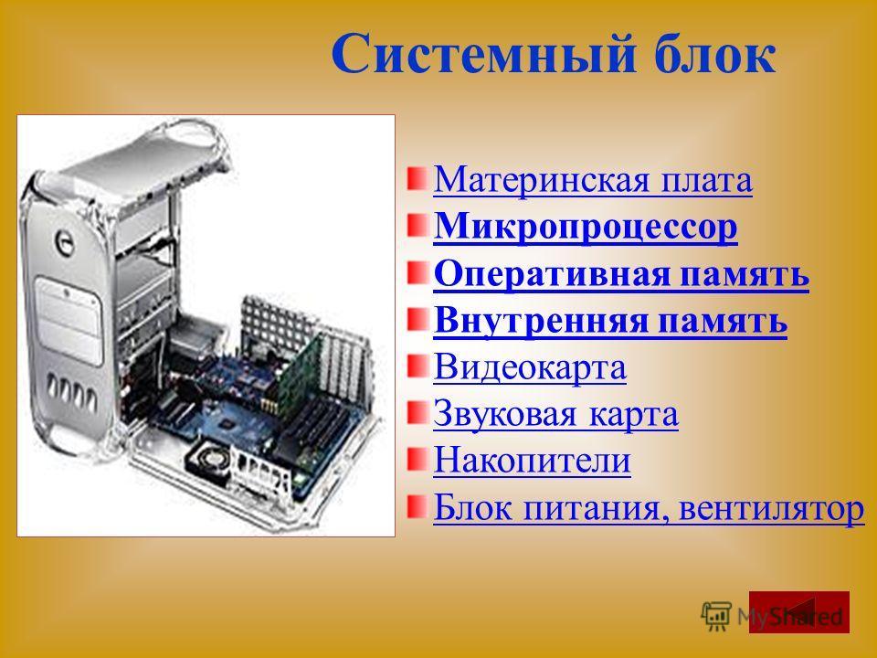 Системный блок Материнская плата Микропроцессор Оперативная память Внутренняя память Видеокарта Звуковая карта Накопители Блок питания, вентилятор