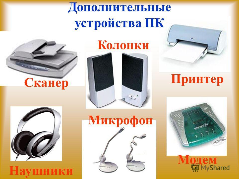 Дополнительные устройства ПК Принтер Колонки Наушники Микрофон Сканер Модем