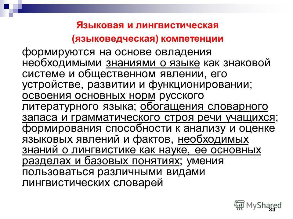 33 Языковая и лингвистическая (языковедческая) компетенции формируются на основе овладения необходимыми знаниями о языке как знаковой системе и общественном явлении, его устройстве, развитии и функционировании; освоения основных норм русского литерат