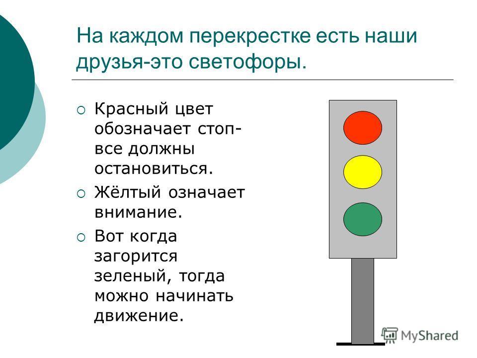 На каждом перекрестке есть наши друзья-это светофоры. Красный цвет обозначает стоп- все должны остановиться. Жёлтый означает внимание. Вот когда загорится зеленый, тогда можно начинать движение.