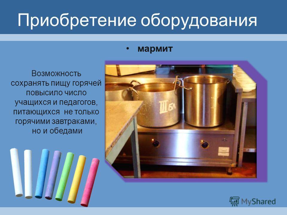 Приобретение оборудования мармит Возможность сохранять пищу горячей повысило число учащихся и педагогов, питающихся не только горячими завтраками, но и обедами