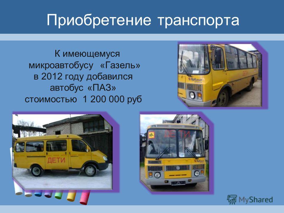 Приобретение транспорта К имеющемуся микроавтобусу «Газель» в 2012 году добавился автобус «ПАЗ» стоимостью 1 200 000 руб