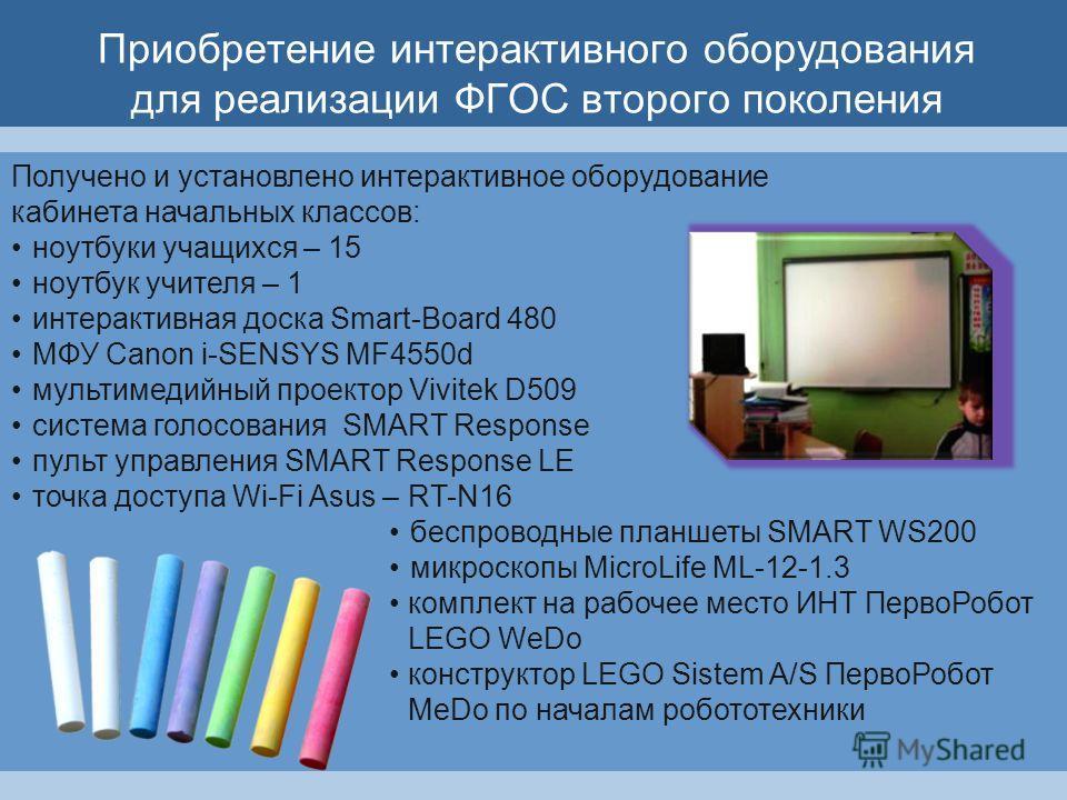 Приобретение интерактивного оборудования для реализации ФГОС второго поколения Получено и установлено интерактивное оборудование кабинета начальных классов: ноутбуки учащихся – 15 ноутбук учителя – 1 интерактивная доска Smart-Board 480 MФУ Canon i-SE
