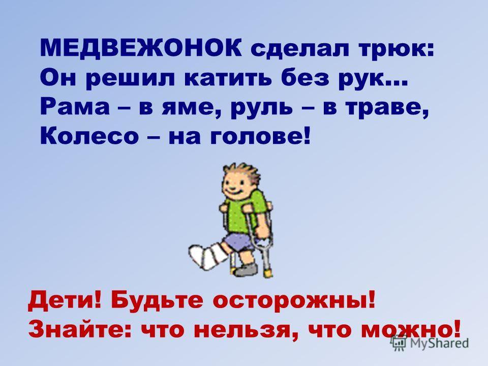 МЕДВЕЖОНОК сделал трюк: Он решил катить без рук... Рама – в яме, руль – в траве, Колесо – на голове! Дети! Будьте осторожны! Знайте: что нельзя, что можно!