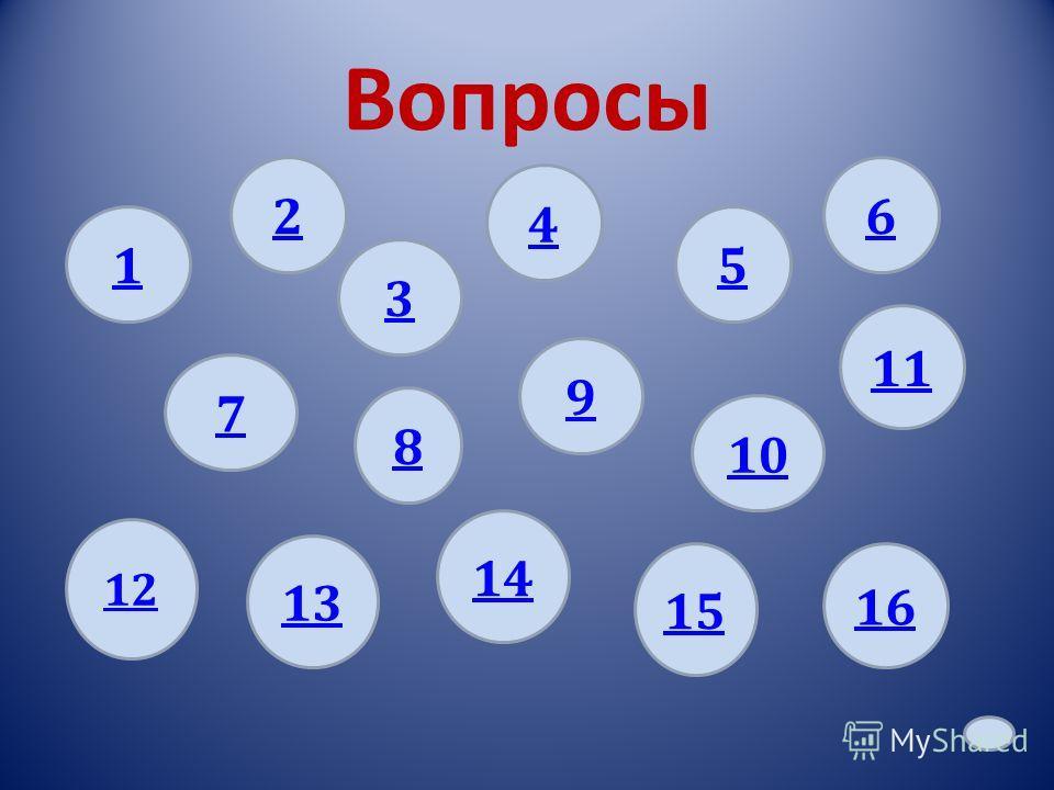 Вопросы 1 8 2 9 4 3 6 7 12 14 13 15 10 11 5 16