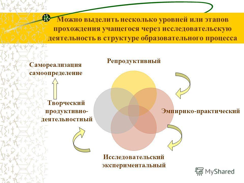 Можно выделить несколько уровней или этапов прохождения учащегося через исследовательскую деятельность в структуре образовательного процесса Самореализация самоопределение