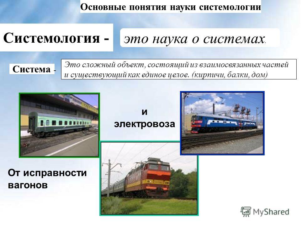 Основные понятия науки системологии Системология - это наука о системах. От исправности вагонов и электровоза Система - Это сложный объект, состоящий из взаимосвязанных частей и существующий как единое целое. (кирпичи, балки, дом)