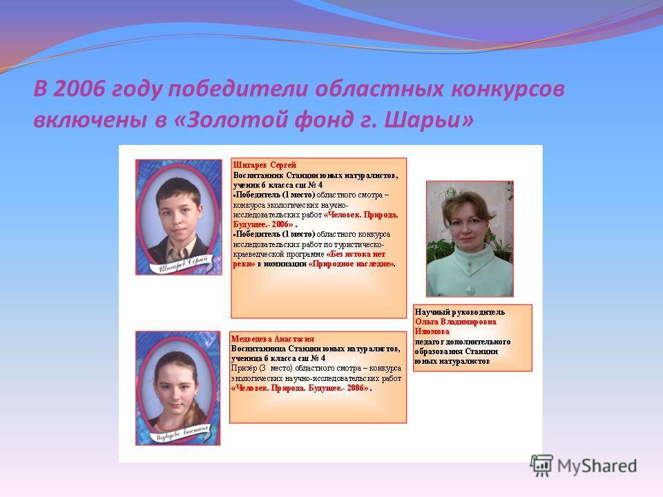 В 2006 году победители областных конкурсов включены в « Золотой фонд г. Шарьи »