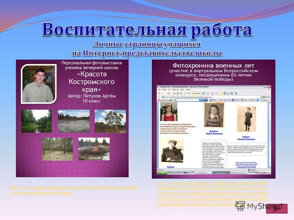 http://www.koipkro.kostroma.ru/Sharya/vsh/DocLib4/petuxov.aspx?Page View=Shared&DisplayMode=Design http://www.koipkro.kostroma.ru/Sharya/vsh/DocLib4/%D0%9 B%D0%B8%D1%87%D0%BD%D0%B0%D1%8F%20%D1%81% D1%82%D1%80%D0%B0%D0%BD%D0%B8%D1%86%D0%B0 %20%D0%A8%D