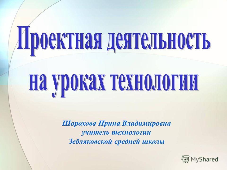 Шорохова Ирина Владимировна учитель технологии Зебляковской средней школы