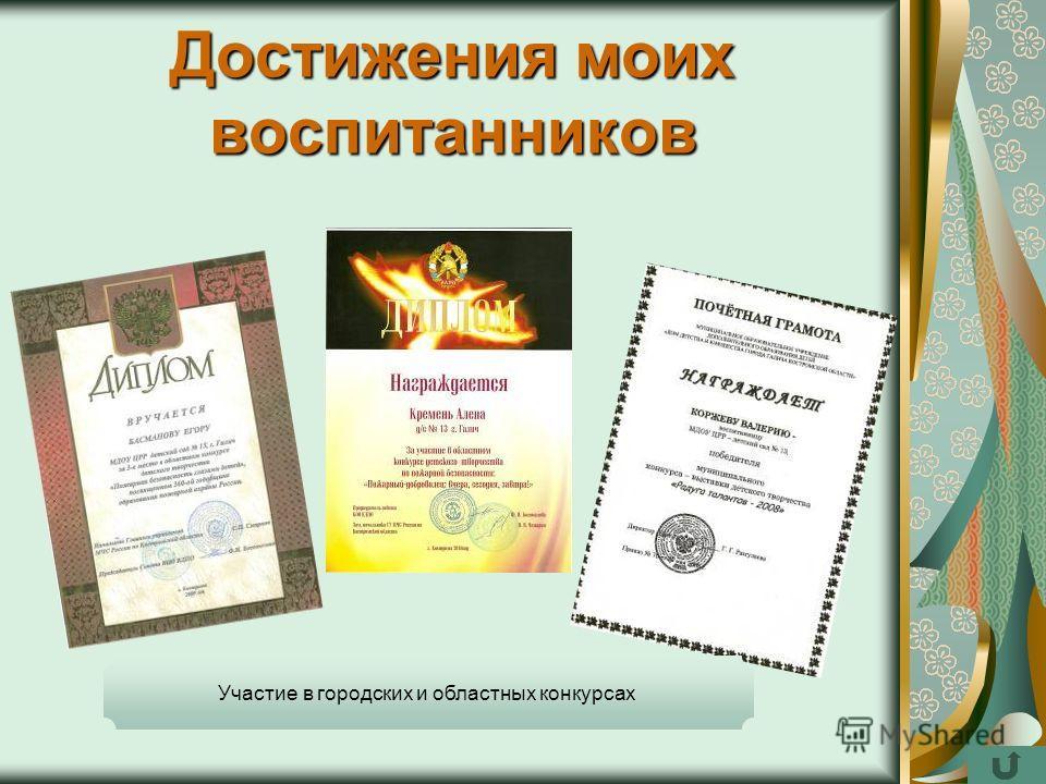 Достижения моих воспитанников Участие в городских и областных конкурсах