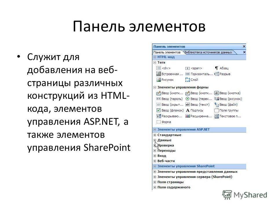Панель элементов Служит для добавления на веб- страницы различных конструкций из HTML- кода, элементов управления ASP.NET, а также элементов управления SharePoint