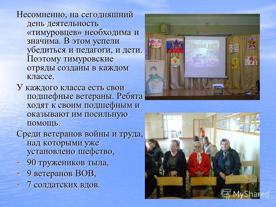 Несомненно, на сегодняшний день деятельность «тимуровцев» необходима и значима. В этом успели убедиться и педагоги, и дети. Поэтому тимуровские отряды созданы в каждом классе. Несомненно, на сегодняшний день деятельность «тимуровцев» необходима и зна