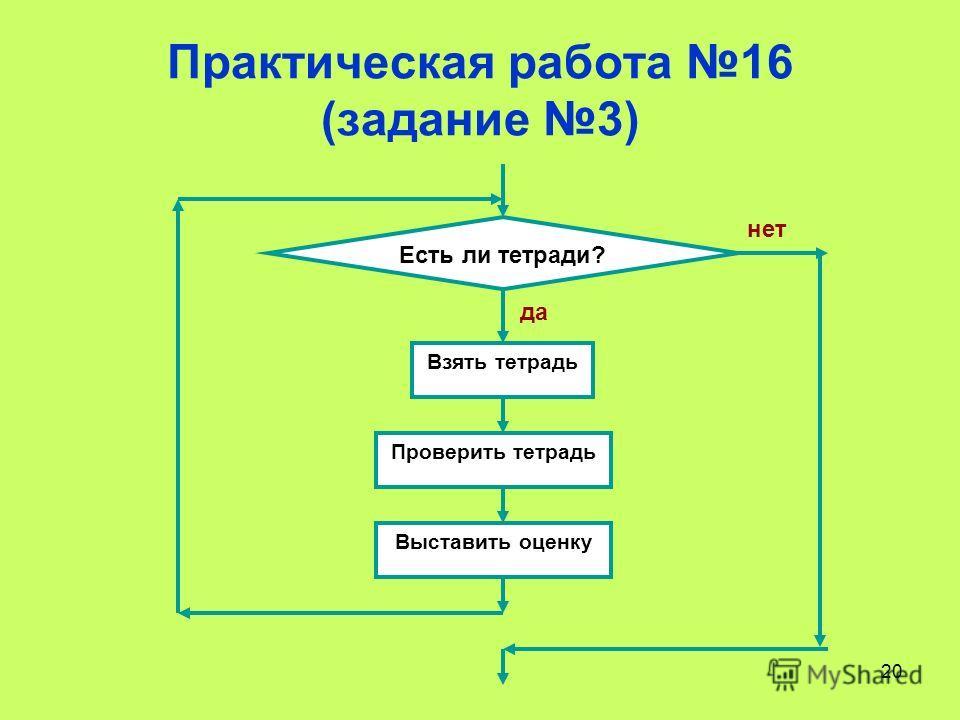 20 Практическая работа 16 (задание 3) Есть ли тетради? Взять тетрадь Проверить тетрадь Выставить оценку нет да