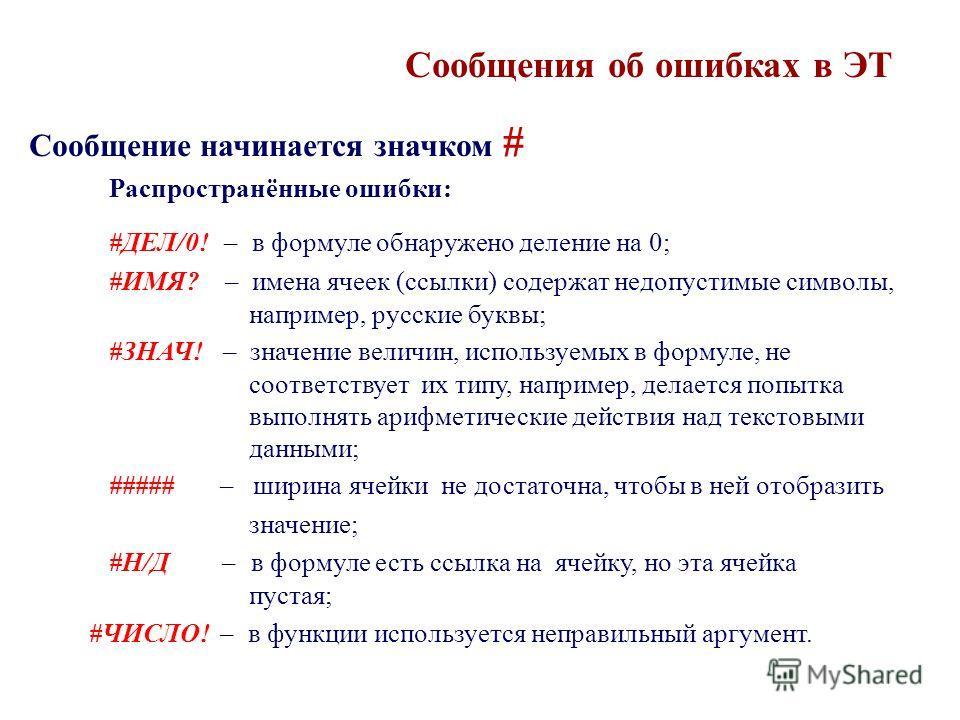 Сообщения об ошибках в ЭТ Сообщение начинается значком # Распространённые ошибки: #ДЕЛ/0! – в формуле обнаружено деление на 0; #ИМЯ? – имена ячеек (ссылки) содержат недопустимые символы, например, русские буквы; #ЗНАЧ! – значение величин, используемы