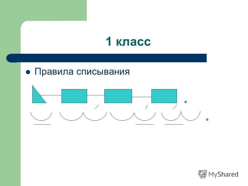 1 класс Правила списывания