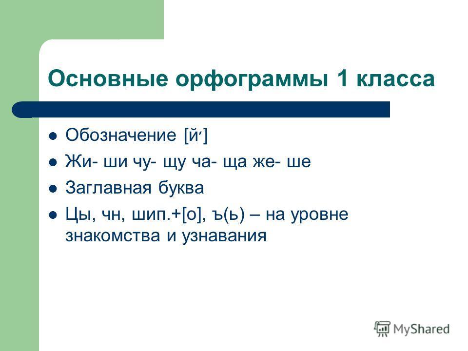 Основные орфограммы 1 класса Обозначение [й׳] Жи- ши чу- щу ча- ща же- ше Заглавная буква Цы, чн, шип.+[о], ъ(ь) – на уровне знакомства и узнавания