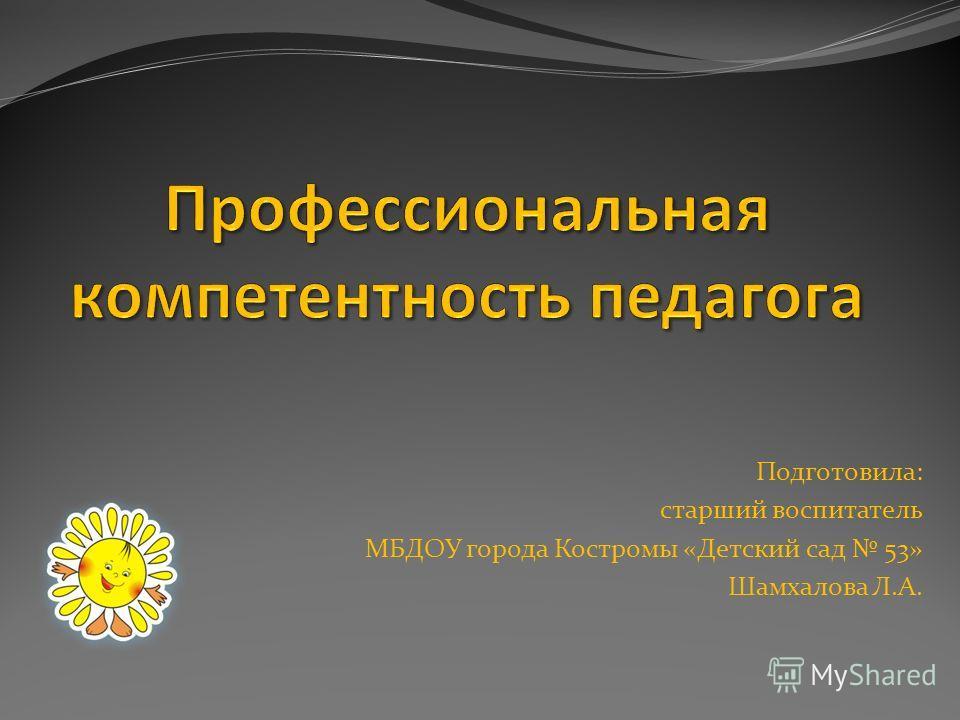 Подготовила: старший воспитатель МБДОУ города Костромы «Детский сад 53» Шамхалова Л.А.