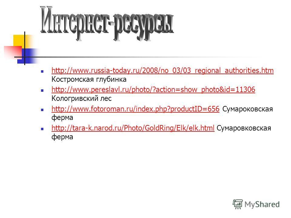 http://www.russia-today.ru/2008/no_03/03_regional_authorities.htm Костромская глубинка http://www.russia-today.ru/2008/no_03/03_regional_authorities.htm http://www.pereslavl.ru/photo/?action=show_photo&id=11306 Кологривский лес http://www.pereslavl.r