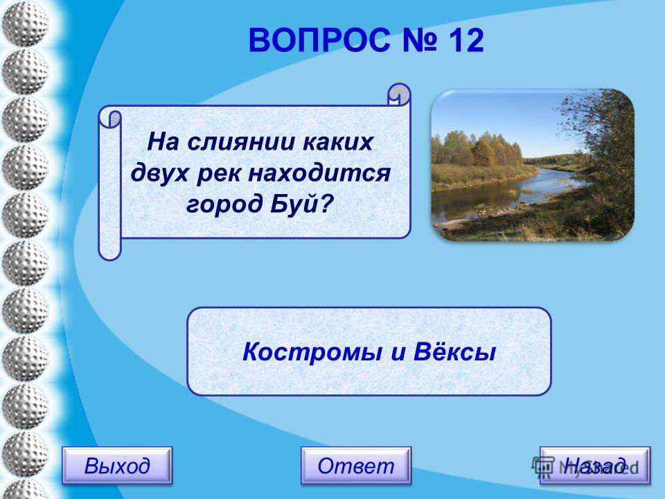 Выход Назад Ответ Костромы и Вёксы На слиянии каких двух рек находится город Буй? ВОПРОС 12