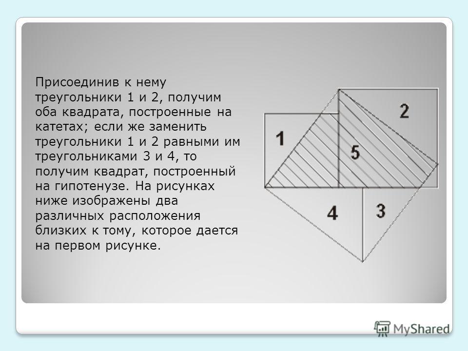 Присоединив к нему треугольники 1 и 2, получим оба квадрата, построенные на катетах; если же заменить треугольники 1 и 2 равными им треугольниками 3 и 4, то получим квадрат, построенный на гипотенузе. На рисунках ниже изображены два различных располо