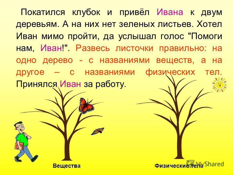 Покатился клубок и привёл Ивана к двум деревьям. А на них нет зеленых листьев. Хотел Иван мимо пройти, да услышал голос