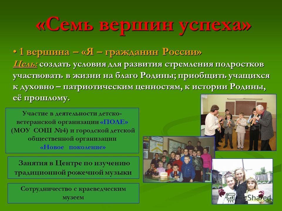«Семь вершин успеха» 1 вершина – «Я – гражданин России» 1 вершина – «Я – гражданин России» Цель: создать условия для развития стремления подростков участвовать в жизни на благо Родины; приобщить учащихся к духовно – патриотическим ценностям, к истори
