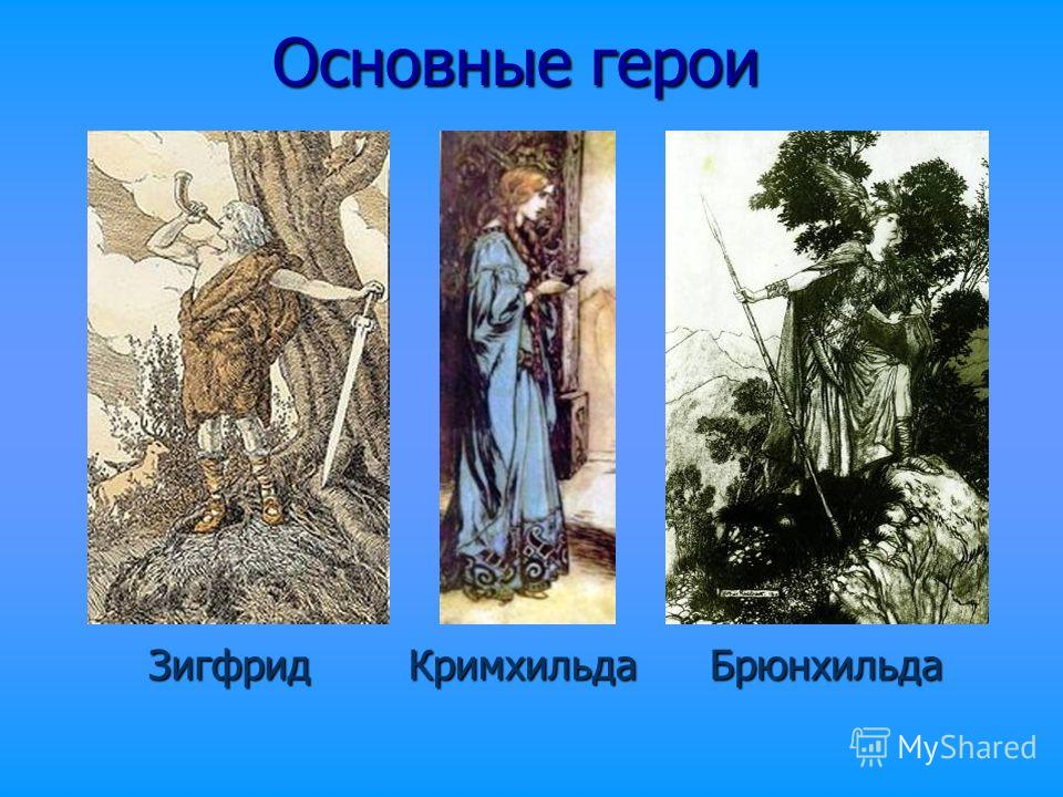 Основные герои ЗигфридКримхильдаБрюнхильда