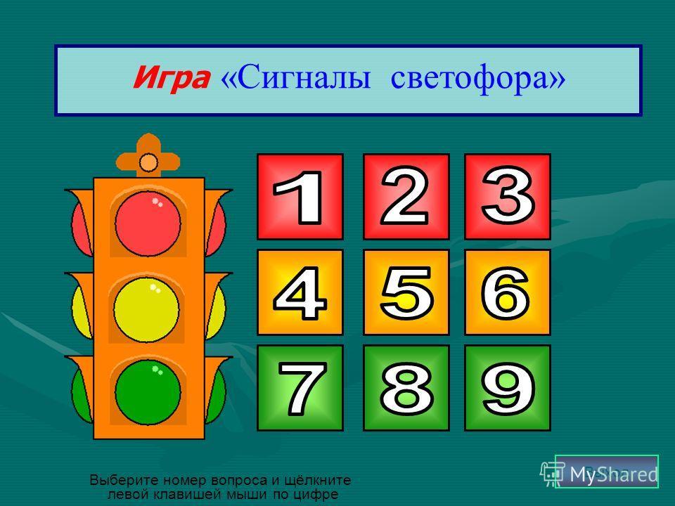 Игра «Сигналы светофора» Выберите номер вопроса и щёлкните левой клавишей мыши по цифре Выход