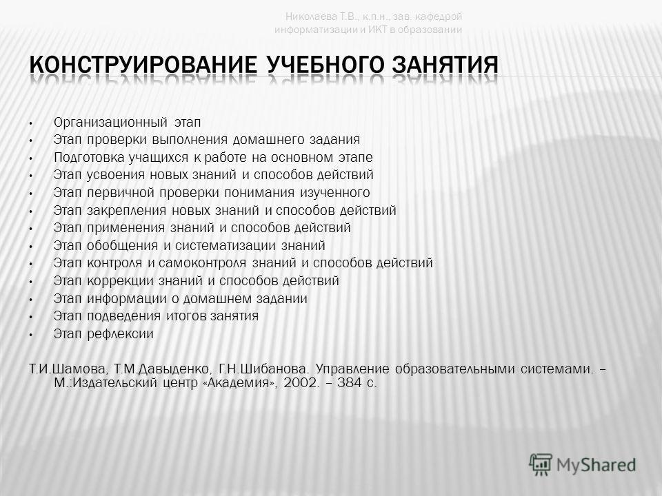Николаева Т.В., к.п.н., зав. кафедрой информатизации и ИКТ в образовании Организационный этап Этап проверки выполнения домашнего задания Подготовка учащихся к работе на основном этапе Этап усвоения новых знаний и способов действий Этап первичной пров