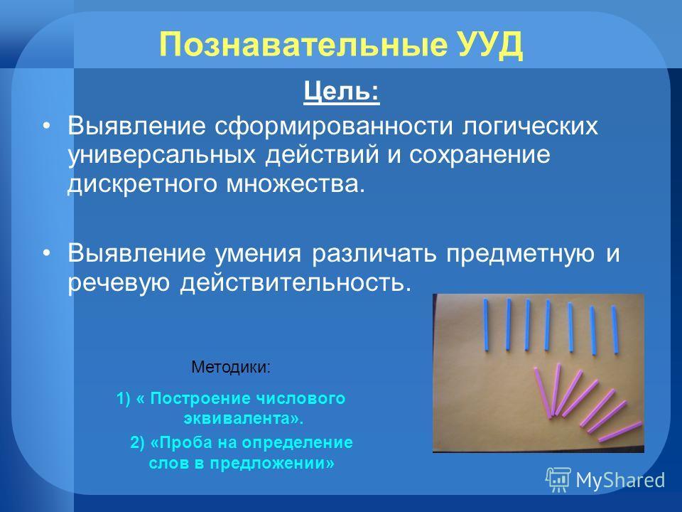 Познавательные УУД Цель: Выявление сформированности логических универсальных действий и сохранение дискретного множества. Выявление умения различать предметную и речевую действительность. Методики: 1) « Построение числового эквивалента». 2) «Проба на