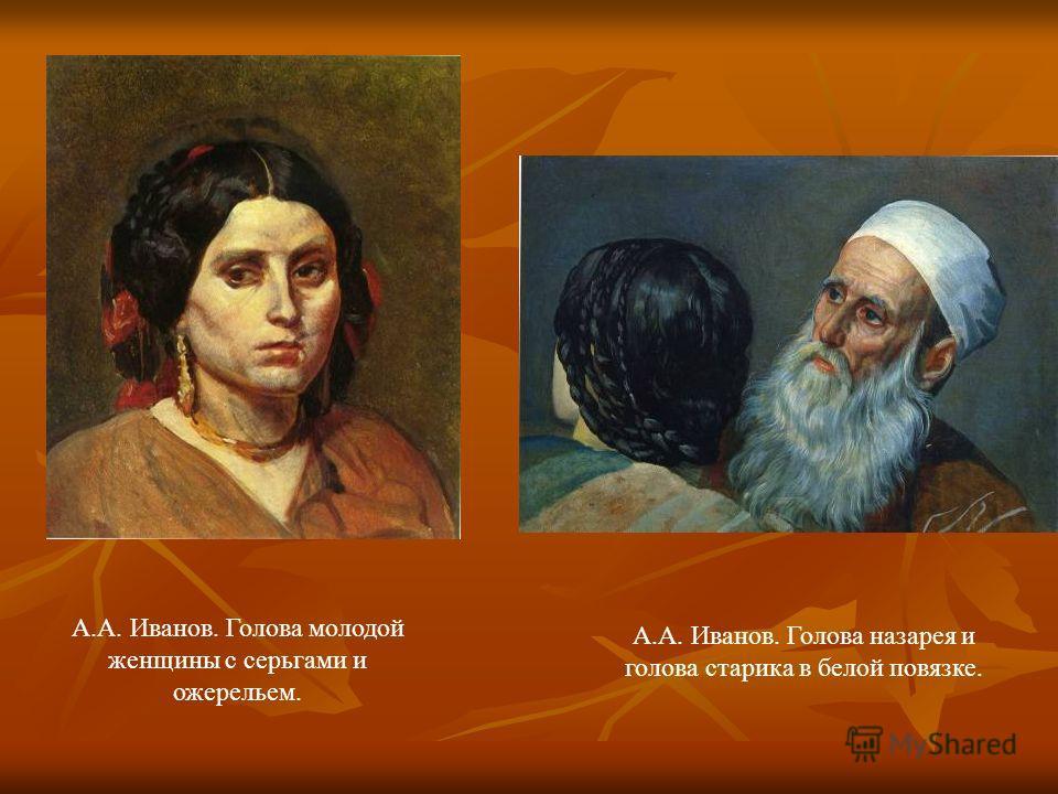 А.А. Иванов. Голова молодой женщины с серьгами и ожерельем. А.А. Иванов. Голова назарея и голова старика в белой повязке.