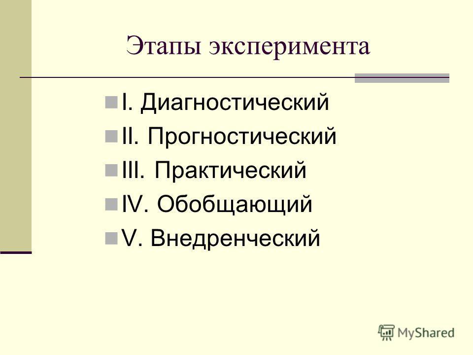 Этапы эксперимента I. Диагностический II. Прогностический III. Практический IV. Обобщающий V. Внедренческий