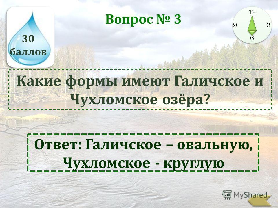 30 баллов 12 9 3 6 Вопрос 3 Какие формы имеют Галичское и Чухломское озёра? Ответ: Галичское – овальную, Чухломское - круглую