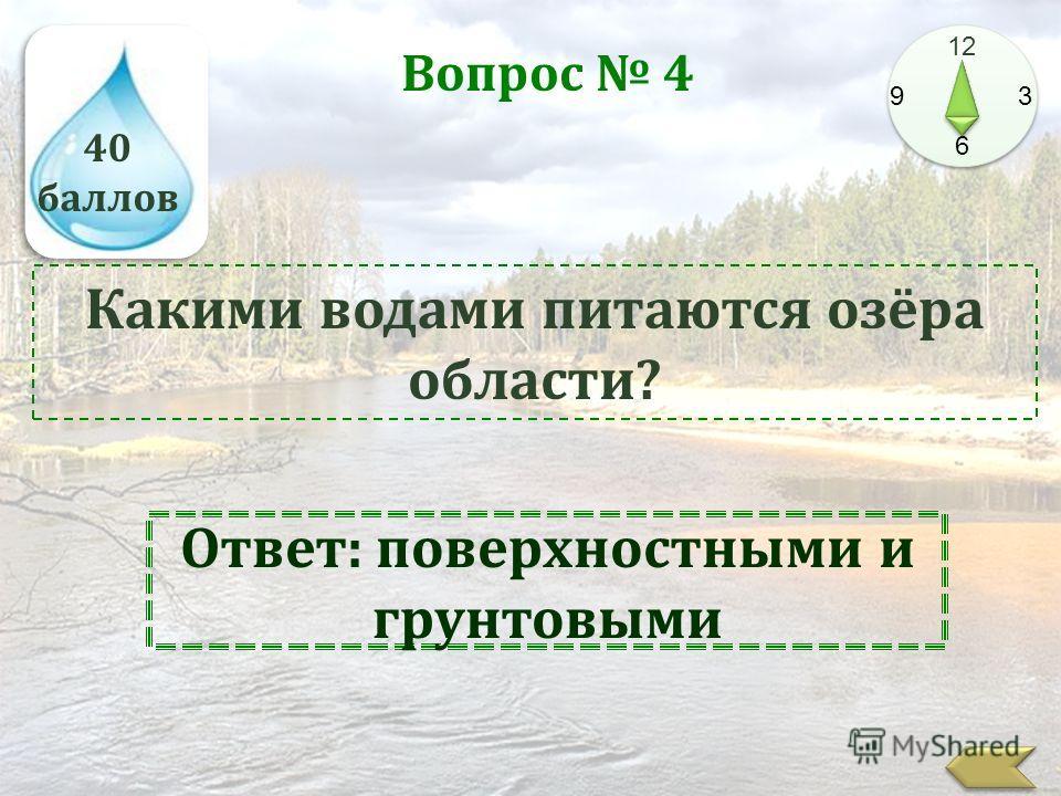 40 баллов 12 9 3 6 Вопрос 4 Какими водами питаются озёра области? Ответ: поверхностными и грунтовыми