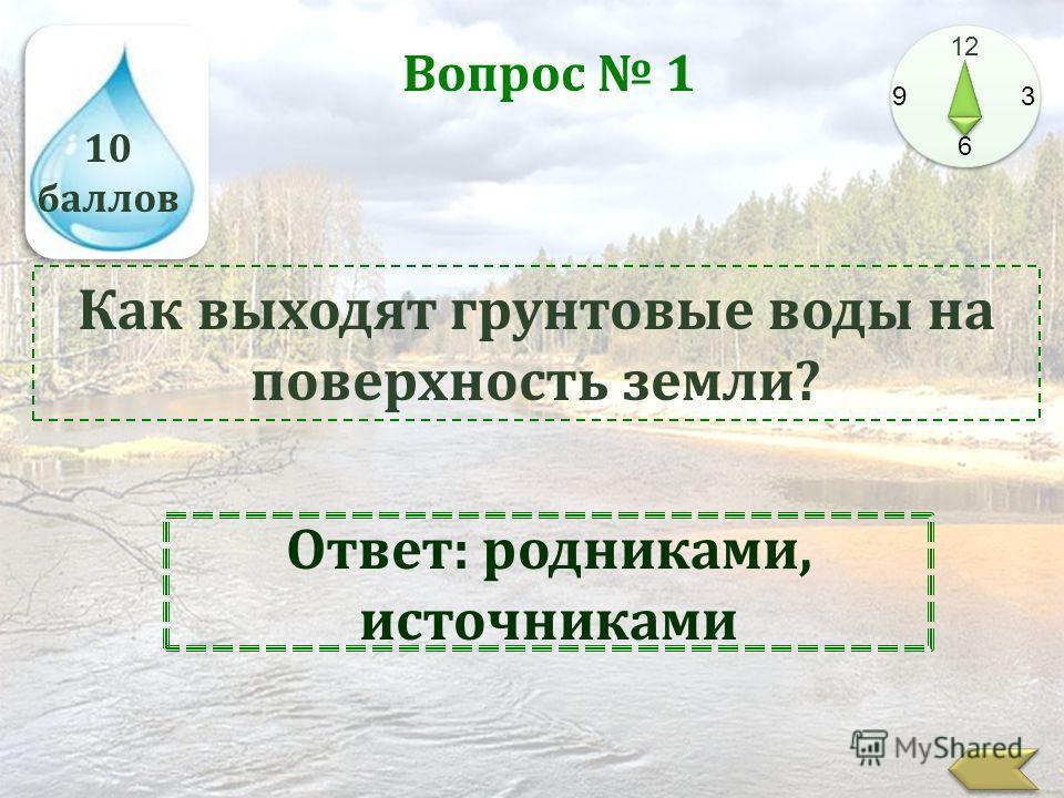 10 баллов 12 9 3 6 Вопрос 1 Как выходят грунтовые воды на поверхность земли? Ответ: родниками, источниками